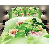 155x200 3D Bettwäsche Bettwäscheset Blume Blumen-Muster Bettbezüge Microfaser Bettwäschegarnituren mit dem Spannbettlaken