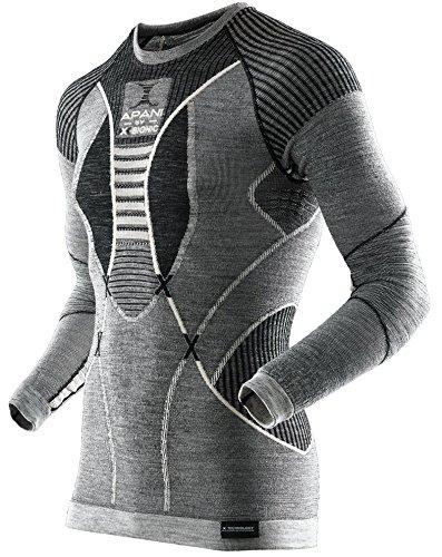 X-Bionic Herren Apani Merino Fastflow Man UW Shirt LG_SL. Roundneck T-Shirts, Black/Grey/Ivory, XXL