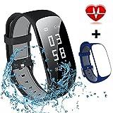 MOCRUX Fitness Armbanduhr Fitness Tracker Smartwatch Automatische Schlafüberwachung Aktivitätstracker Schrittzähler Armbanduhr Herzfrequenz-Messgerät mit Ein Ersatzarmband