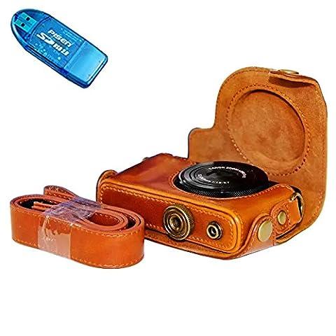 First2savvv XJPT-S120-09G10 braun Ganzkörper- präzise Passform PU-Leder Kameratasche Fall Tasche Cover für Canon PowerShot S100 S110 S120 S200 mit