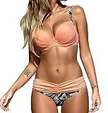 YaoDgFa Sexy Damen Bikini Bademode Badeanzüge Bikinis für Frauen Mädchen Bandeau Push up mit Bügel Neckholder Bandage Große Größen, EU S (Tag M), #03 Pink