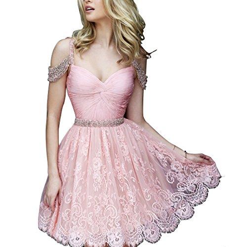 Find Dress Femme Elégant Style Sexy Robe de soirée/Cocktail/Mariage Courte Hors de L'épaule en Dentelle avec des Perles Rose