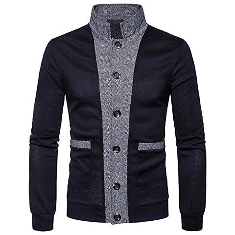 Jacke Mantel Outwear,Herren Herbst Winter Patchwork Stand Neck Sweatshirt Tops Bluse (2XL, Schwarz)