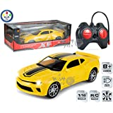 Wish Key 4 Channel Remote Control High Speed Multifunctional Mustang Plastic Model Racing Car Toy With Lights For Kids Above 8 Years, Yellow