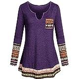Damen Langarm V-Ausschnitt Oberteile Sweatshirt Sonnena Casual Boho Patchwork Top Tuniken Frauen Lose Fit Bluse T-Shirt Pullover Freizeit Pullover Cami