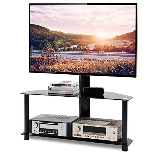 RFIVER Universal TV Ständer Rack Fernsehtisch Eckschrank Möbel Schwenkbar Höhenverstellbar für 32-65 Zoll mit 2 Glas Regalen Schwarz TW1005 -