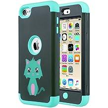Caso del iPod Touch 5, Ulak iPod Touch 6 Funda Case caja híbrida de 3 capas de silicona cubierta del caso de Shell duro para iPod Touch 5? / 6? Generación (menta del gato)