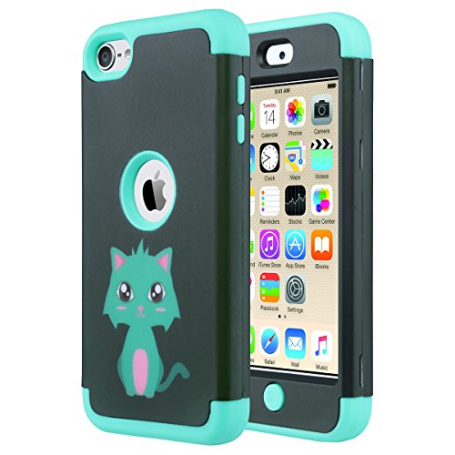ULAK iPod Touch 5 Hülle, iPod Touch 6 Hülle 3 Layer Hybrid Combo Innere Weiche Silikon Hart Plastik Anti-stoß Schutzhülle Tasche Case Cover für Apple iPod Touch 5 6 Generation (F-Mint Katze)