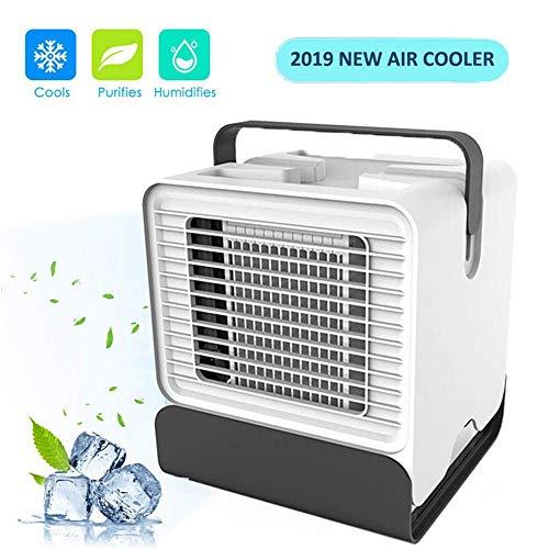 Womdee Climatiseur Ventilateur Portable, USB 3 en 1 Mini Climatiseur Refroidisseur d'air Evaporatif avec Humidificateur et Purificateur pour Maison/Bureau/Camping - Dernier Modèle