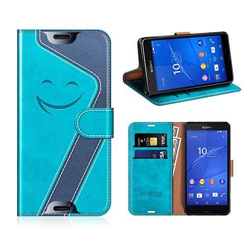 MOBESV Smiley Sony Xperia Z3 Compact Hülle Leder, Sony Xperia Z3 Compact Tasche Lederhülle/Wallet Case/Ledertasche Handyhülle/Schutzhülle für Sony Xperia Z3 Compact, Aqua/Dunkel Blau
