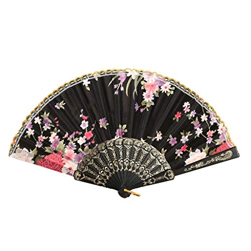 Syeytx besten chinesischen Stil Tanz dekorative Fan Retro Fan Hochzeit Party Lace Silk Folding Hand Blume Fan Wandventilator, Hochzeit, Party, Tanz, Karneval Dekor