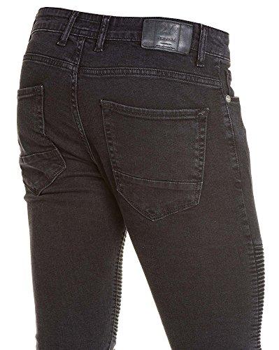 BLZ jeans - Jean homme fashion noir et gris troué aux genoux Noir