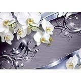 Vlies Fototapete PREMIUM PLUS Wand Foto Tapete Wand Bild Vliestapete - Ornament Orchidee Blüte Blume - no. 604, Größe:350x245cm Vlies