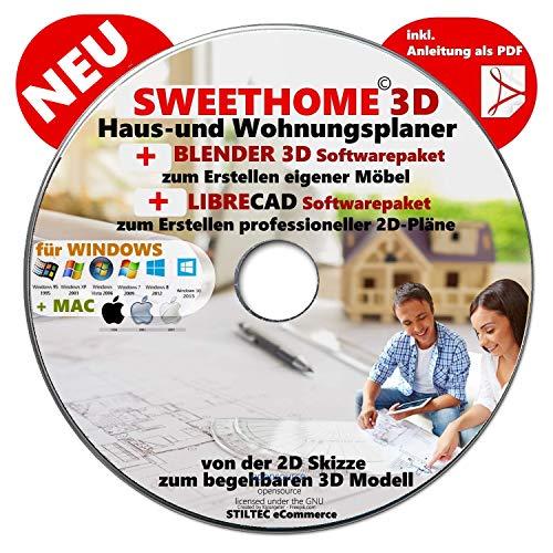 """Sweet Home 3D® Version 6.0 """"SWEET HOME 3D"""" NEU Haus-und Wohnungsplaner 3D Software Premium PLUS= BLENDER und LIBRE-CAD"""