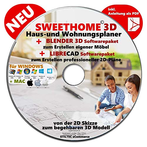 """SWEETHOME3D"" © Haus-und Wohnungsplaner 3D Sweet Home 3D® 2020 Software Premium Paket BONUS= + BLENDER 3D + LIBRE-CAD"
