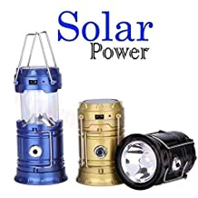 Global Craft 6 LED Solar Power Camping Lantern Light Rechargable Collapsible Night Light Waterproof Outdoor Super Bright Hiking Flashlight (Color May Vary) Model 138343