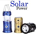 #8: GKP Products ® 6 LED Solar Power Camping Lantern Light Rechargable Collapsible Night Light Waterproof Outdoor Super Bright Hiking Flashlight (Color May Vary) Model 365955