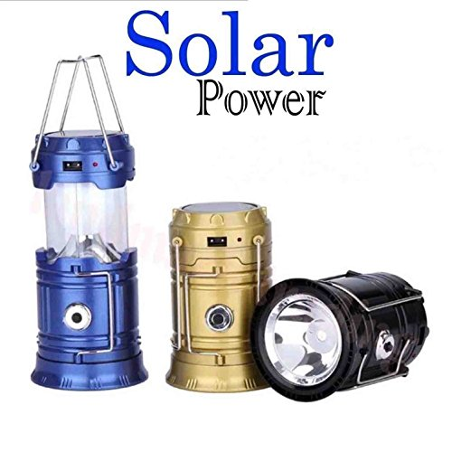 GKP Products 6 LED Solar Power Camping Lantern Light Rechargable Collapsible Night...