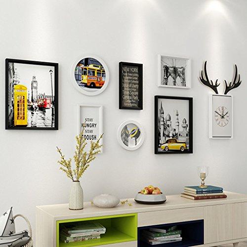 &Dekorative Wände Moderne Massivholz Bilderrahmen Wand Sets Von 7, hängen Bilderrahmen Wand Wohnzimmer Schlafzimmer Kombination Bilderrahmen Wand Sofa Hintergrund Bilderrahmen Wand Modischer Entwurf ( Farbe : A , größe : 7frames/159*54CM )