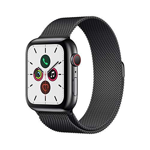 Apple Watch Series 5 (GPS+Cellular, 44 mm) Boîtier en Acier Inoxydable Noir Sidéral - Bracelet Milanais Noir Sidéral