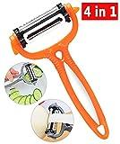 4-in-1 Eplucheur Legume, Éplucheur à Fruits Multifonctionnel Décapeur de Décolleté en Inox à Base de Légumes à Fruits Rotatifs (Orange)