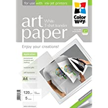 Papel Fotografico ColorWay ART transferencia termica (telas claras) 120 g/m², A4 5 sht PTW120005A4 para impresión de ricas imágenes y fotos y trransferir a un tela