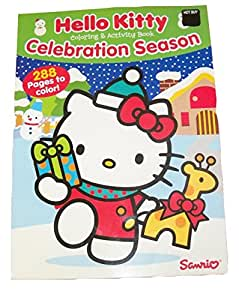 Hello Kitty 288 Page Coloring & Activity Book ~ Christmas Edition (Celebration Season Kitty With Presents On Blue; 2014)
