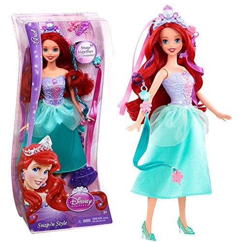 Princesas Disney - Muñeca Peinados de Joyas Arielle Snap 'N Style Mattel
