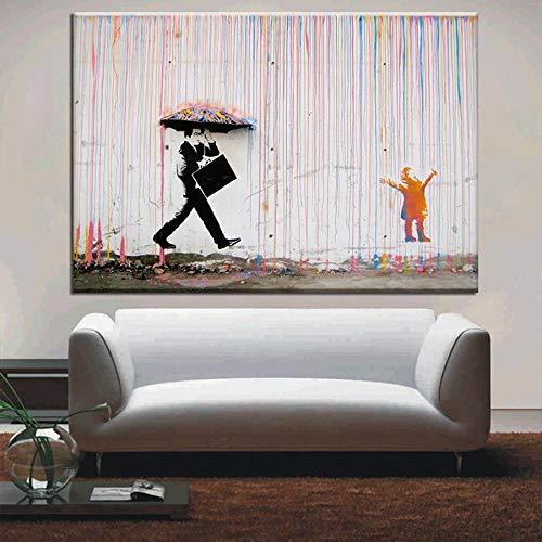 RTCKF Graffiti artistici Stampa a Pioggia Colorata su Tela Moderna Tela Pittura Poster da Parete e Decorazione Soggiorno (Senza Cornice) A 1 20x30CM