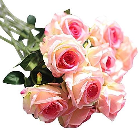 OverDose Künstliche gefälschte Rosen Flanell-Blume Brautstrauß Hochzeit Home Decor Artificial Fake Roses Bridal Bouquet (A, 5 Pcs)