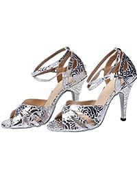 GUOSHIJITUAN Mujer S Zapatos De Baile Latino,Tacones Zapatos De Baile Fondo Suave Plateado Zapatos De Salón De...