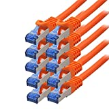 BIGtec - 10 Stück - 1m CAT.7 Gigabit Patchkabel Netzwerkkabel orange Kupferkabel Patch Ethernt LAN DSL Kabel CAT7 (RJ45, Cat 7, S/FTP PIMF) 100cm