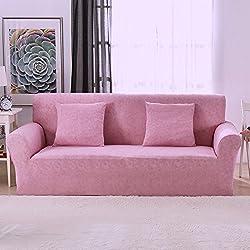 1 2 3 4 Sitzer Sofa Sofabezug Elastischer Sofaüberwurf Rutschfeste Stretch Hussen für Sofa, Einfarbig, Polyester/Elasthan,mit Leinenmuster Couch Cover Protector, rose, 2 Seater:145-185cm