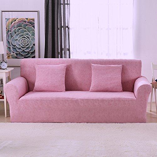 1 2 3 4 Sitzer Sofa Sofabezug Elastischer Sofaüberwurf Rutschfeste Stretch Hussen für Sofa, Einfarbig, Polyester/Elasthan,mit Leinenmuster Couch Cover Protector, rose, 3 Seater:195-230cm