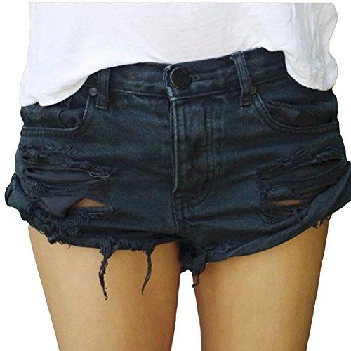 Minetom Damen Shorts Cool Loch Kurz Jeans Damen Beiläufige Hoher Taille Kurze Hosen Ripped Ausgefranste Quaste Hem Lose Klassisch Schwarz