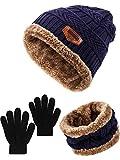 SATINIOR 3 Pezzi Cappello a Maglia da Bambino Invernale Set di Guanti Sciarpa Cappello Set di Sciarpe con Cappuccio a Teschio