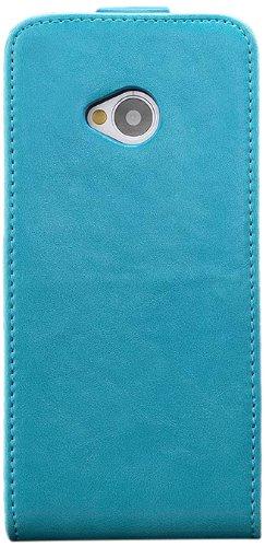 iCues HTC One M7 |  Klapp Tasche Türkis | [Display Schutzfolie Inklusive] Leder - Imitat Book Klapphülle Schutz Etui Handytasche zum aufklappen Flip Case Schutzhülle Booklet Hülle Wallet