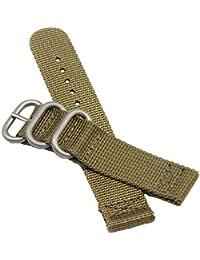 Les Bracelets en perlon Nylon Style NATO 24mm Kaki Hommes Exquis Sangles de Remplacement