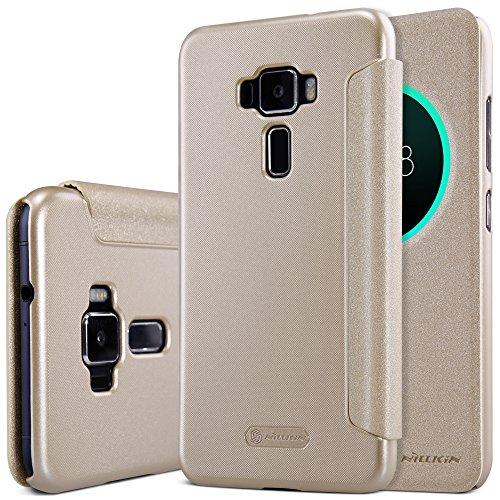 Meimeiwu Alta Qualità Slim Custodia in pelle - Flip Cover Leather Case + Pellicola Protettiva Per Asus Zenfone 3 ZE520KL - Oro