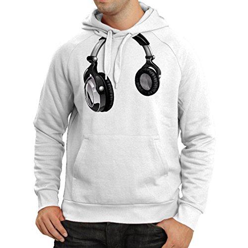 Felpa con cappuccio for Music Lovers - DJ Gift, retro music, electronics, headphone print Bianco Multicolore