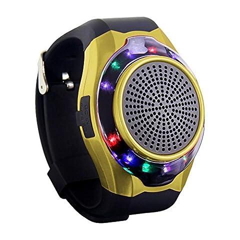 Joyeer Smart Watch Lautsprecher Blenden Licht mit sieben Farben Remote Kamera Wireless Stereo Subwoofer FM Radio Musik TF Karte Spielen Hands-free Call Anti-verloren Alarm Sport Watch , gold