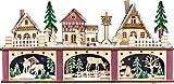 yanka-style LED - Lichtersockel Leuchter innenbeleuchtet Weihnachtsdorf/Wald Natur/Farbig aus Holz ca. 45 x 11 x 22 cm Breit Weihnachten Advent Geschenk Dekoration (94251)