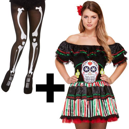 MFD Day Of The Dead Senorita Costume + Skeleton Tights