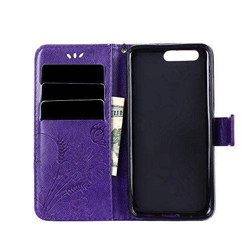 Premium PU-Leder Folio Stand Case, Solid Farbe geprägt Blumen Stil schützende Geldbörse Tasche Tasche mit Lanyard & Card Slots für Huawei P10 ( Color : Modena ) Modena