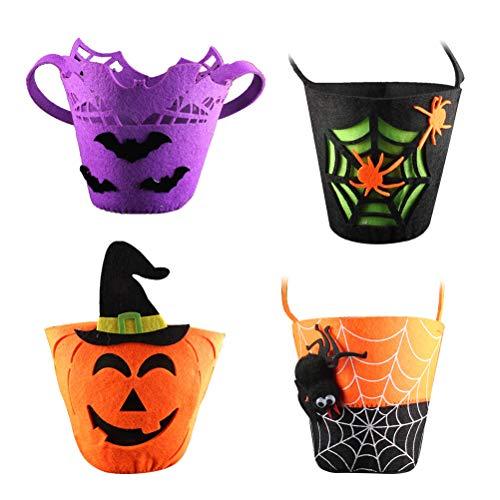 Toyandona Halloween-Tüten für Süßigkeiten, Kürbis-Spinnen, für Kinder, 4 Stück (Für Leckereien Halloween Tüte)