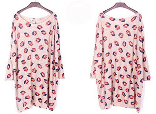 Smile YKK Femme Fashion Pull Bat Tricot Veste Swing T-shirt Manches Longue Imprimé Motif de rouge à lèvres Abricot
