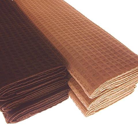 6x Tea Towel 100% Cotton Waffle Pique in Dark Brown/Tan/Brown