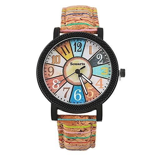 Souarts Damen Retro Einfach Stil Farbig Streifen Armbanduhr Quartz Analog Uhr mit Batterie (Typen 1)