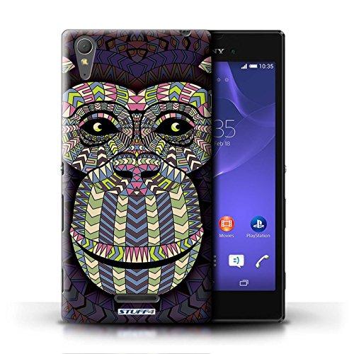 Coque en plastique pour Sony Xperia T3 Collection Motif Animaux Aztec - Hibou-Couleur Singe-Couleur