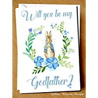 Will You Be My Godfather? Peter Rabbit Beatrix Potter Greetings Card Godmother Pink Florals Gift Christening Baptism Naming Day Church Jemima Puddleduck Pink Blue Boy Girl Godparent Godfather Guardian